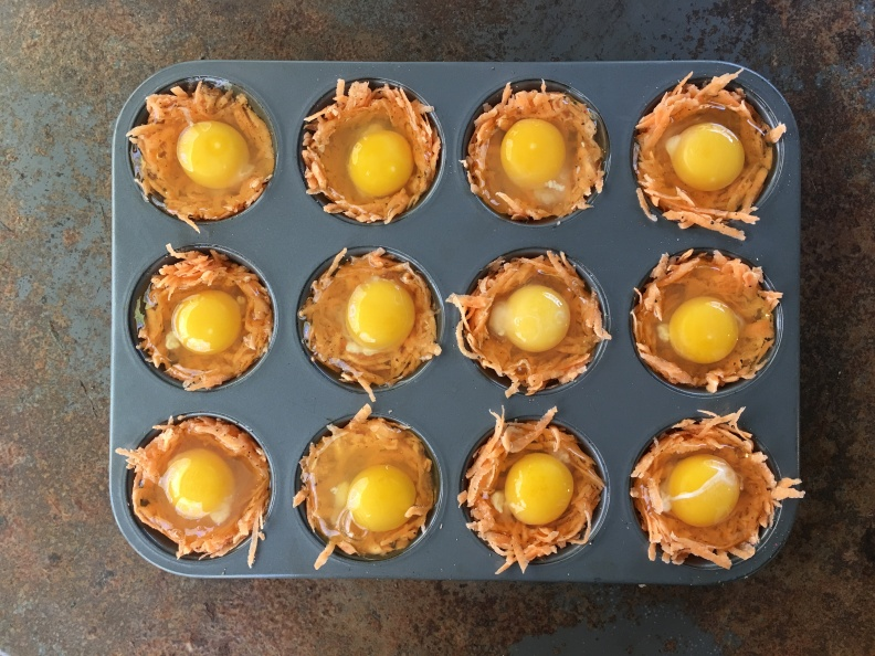 egg in sweet potato cups
