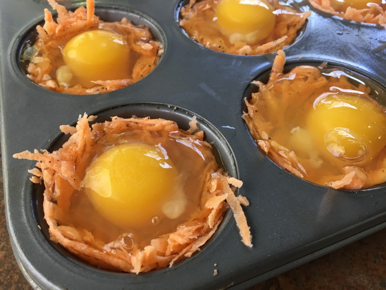 Egg in partially baked sweet potato cup