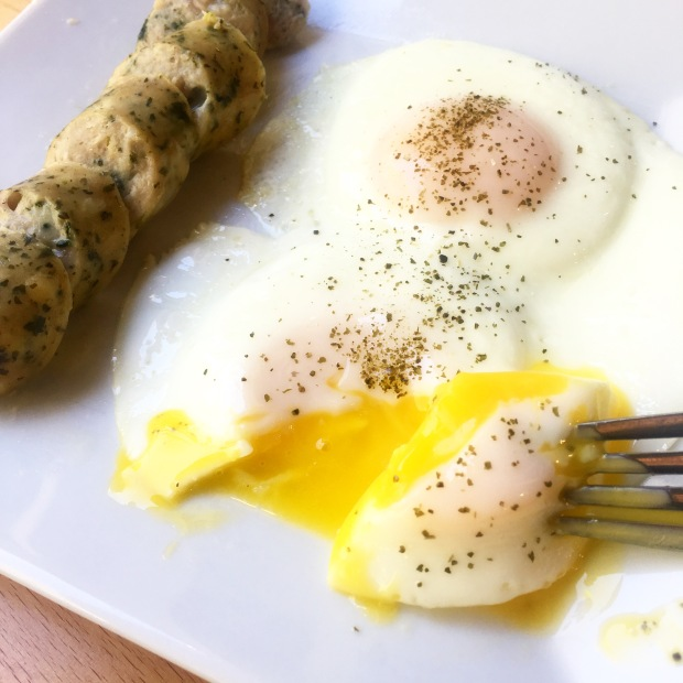 Eggs, Kelp Granules, and Chicken Sausage