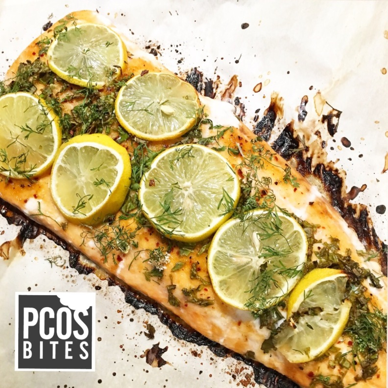 PCOSbites Salmon seasoned with basil and lemon