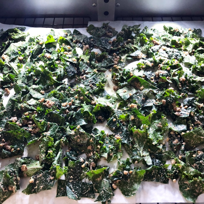 Cheesy Kale Chips Recipe on the dehydrator